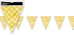 Girlanda vlajky - žluté s puntíky