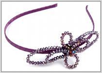 Čelenka s korálkovou mašlí - fialová