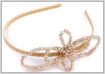 Čelenka s korálkovou mašlí - krémovozlatá