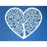 Svatební přízdoba - papírové srdce se stromem - 10ks