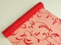 Organza šerpa - červená se vzorem lístků - 9m