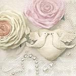 Ubrousky - svatební srdce a holoubci