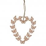 Srdce kov růžové s motýlky - 20 cm