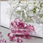 Závěsné srdce plastové - průhledné růžové