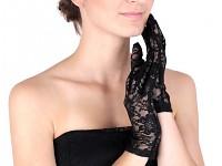 Krajkové společenské rukavice bez prstů krátké - černé