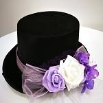 Cylindr černý bílo-fialové růže