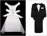 Textilní přízdoba svatební šaty 85 mm - ženich a nevěsta - 1 pár