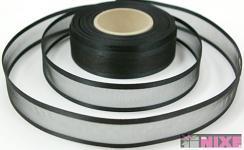 Šifonová stuha lemovaná  - 25mm - černá - 1m