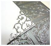Kontury samolepicí - rohy stříbrné velké