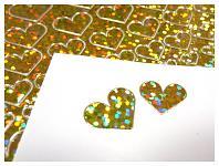 Kontury samolepicí - srdíčka třpytivá zlatá