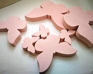 Dřevění motýli - růžový mix - 11 ks