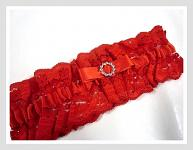 Podvazek krajkový červený