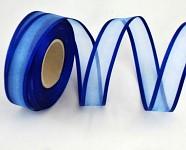 Šifonová stuha lemovaná  - 25mm - tm.modrá - 1m