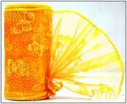 Organza stuha - oranžovožlutá vzor s motýly