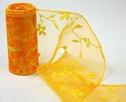 Organza stuha - oranžovožlutá vzor s rostlinami