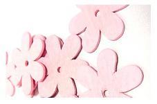 Dřevěné kytičky - růžové - 12ks