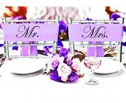Stuhy na židle saténové fialové - 2ks - Mr. a Mrs.