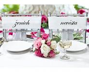 Stuhy na židle saténové bílé - 2ks - ženich a nevěsta