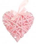 Srdce plné 15 cm proutí - růžové