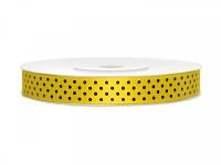 Stuha saténová 25mm -žlutá s čer.puntíky - 1m