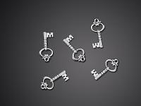 Klíčky mini stříbrné - 25 ks