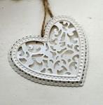Srdíčko kovové bílé s ornamenty - 1ks