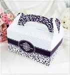Krabička na výslužku - s ouškem - tm.fialová vzor
