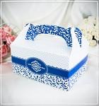 Krabička na výslužku - s ouškem - tm.modrá vzor
