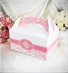 Krabička na výslužku - s ouškem - sv.růžová vzor