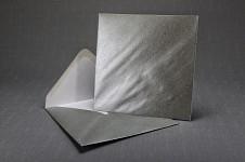 Obálka barevná čtverec - stříbrná