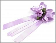 Vývazek velký - světle fialový s růžičkou 2ks