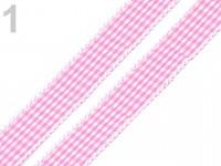 Dekorační stuha károvaná - sv.růžová - 1 m