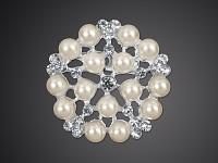 Štrasová spona (brož) - perlová 25 mm