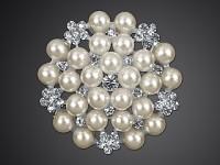 Štrasová spona (brož) - perlová 45 mm