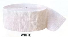 Krepová stuha - bílá - 24m