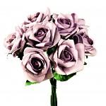 Pěnové tm. fialové růže s drátkem - 8 ks