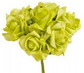 Pěnové žlutozelené růže s drátkem - 6 ks