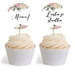 Zápichy do cupcakes - flowers - 16 ks