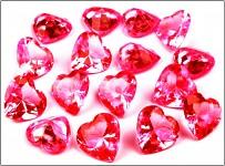 Broušené diamanty velké -  srdce červená