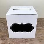 Krabička na peníze (přání) - bílá s černou kartou bez nápisu