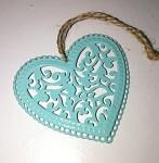 Srdíčko kovové mátové s ornamenty - 1ks