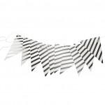 Girlanda vlajky - stříbrná s proužky - 300 cm