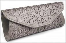 Společenská kabelka - vysekáváná - hnědostříbrná