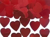 Konfety srdce - lesklé červené velké