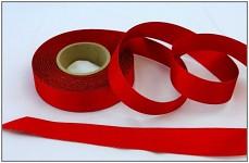 Stuha atlasová oboulící - červená třpyt 24mm -1m