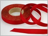 Stuha atlasová oboulící - červená třpyt 15mm -1m