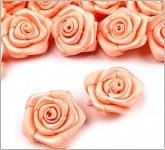 Saténové mini růžičky LUX - lososové