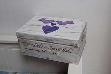 Dřevěná krabička na přání (peníze) - vintage -  ptáčci fialová