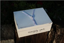 Dřevěná krabička na peníze - zip