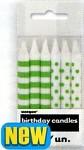 Narozeninové svíčky - pruhy a puntík -  zelené - 12ks